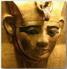 Golden mask of Pharaoh Amenemope.  Detail.  From Tanis. .Egyptian Museum, Cairo.  2004.