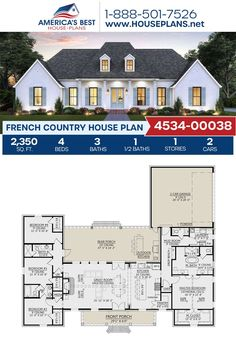 House Plans One Story, New House Plans, Dream House Plans, Modern House Plans, Small House Plans, House Design Plans, Sims 3 Houses Plans, Dream Houses, French Country House Plans