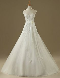 Sweetheart Beaded A-line Wedding Dress With Ribbon Waistband.