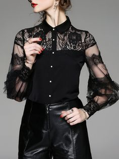 Shop Blouses - Black Solid Ruffled Long Sleeve Shirt Collar Blouse online. Discover unique designers fashion at StyleWe.com.
