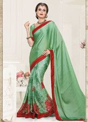 Pastel Green Color Wrinkle Chiffon Party Wear Sarees : Shrinidhi Collection YF-32320