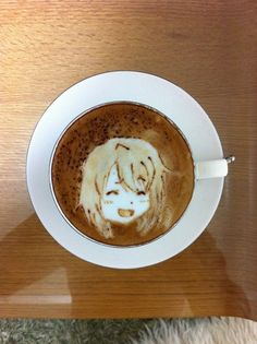 happy girl latte art