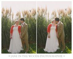 fall barn wedding dress with red cardigan! LOVE it!