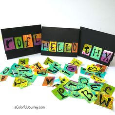 Cardmaking using gel prints and an alphabet stencil tutorial by Carolyn Dube