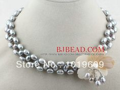 New Fashion Gray Freshwater Pearl and White Shell Flower Necklace&Pendant Women Charm Necklace Free shipping
