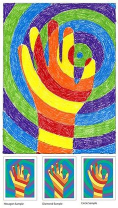 warm hand colors, cool background colors. They trace their hands onto circle background and then color. Great illustration for our being the hands and feet of God while teaching about color theory.