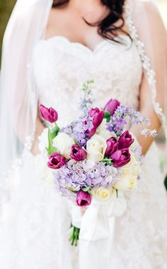 Lavender, Fuschia Purple and White Wedding Bouquet