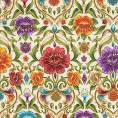 Robert Kaufman Fabrics: SRKM-15837-238 GARDEN from Grand Majolica