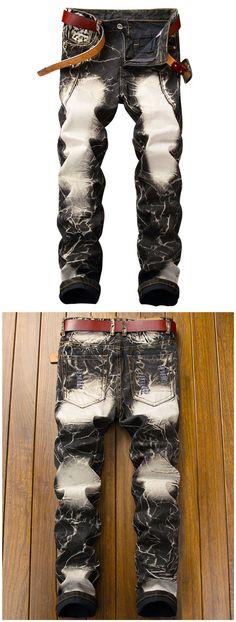 Straight Leg Acid Wash Frayed Retro Jeans