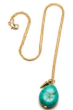 The Turquoise Pebble Necklace by *MKL Accessories  10.00