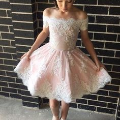 Cute a-line off-the-shoulder pink short prom dress with lace appliques