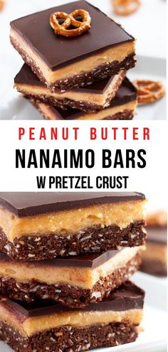 In this best ever Nanaimo Bars recipe, the iconic Canadian dessert gets a sweet and salty treatment. The classic vanilla custard filling and cookie crust are replaced with a creamy peanut butter layer and a pretzel crust! Peanut Butter Pretzel, Best Peanut Butter, Peanut Butter Recipes, Nanaimo Bars, Sweet & Easy, Sweet And Salty, Homemade Vanilla, Homemade Chocolate, Deserts