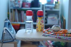 Keeping Water By the Iron: Recycling a Coffee Creamer Bottle Reuse Recycle, Upcycle, Recycling, Coffee Creamer Bottles, Reuse Bottles, Crochet Projects, Sewing Projects, Natural Cleaning Products, Household Tips