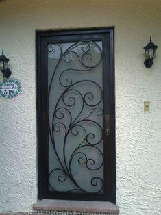 Front Gate Design, Railing Design, Iron Gates, Iron Doors, Wrought Iron Decor, Wrought Iron Fences, Burglar Bars, Window Grill Design, Types Of Doors