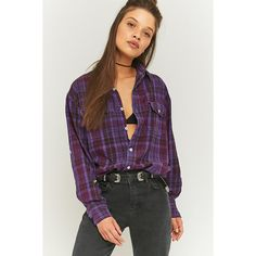 Urban Renewal Vintage Customised Purple Plaid Flannel Shirt ($35) ❤ liked on Polyvore featuring tops, purple, button-down shirt, vintage flannel shirts, pattern button up shirts, oversized plaid shirts and oversized flannel shirt