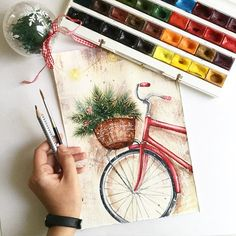 The video consists of 23 Christmas craft ideas. Cool Art Drawings, Pencil Art Drawings, Art Drawings Sketches, Watercolor Drawing, Painting & Drawing, Watercolor Paintings, Drawing Drawing, Arte Sketchbook, Pastel Art