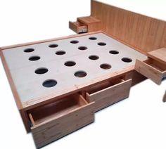 cama napoles con cajones  mesa de luz madera paraiso nordico