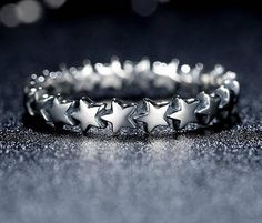 Sterling Silver Plated Five Point Star Ring Infinity Band