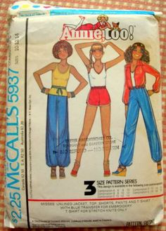 Items similar to Unlined Jacket Top Shorts Pants Stretch Knit T Shirt Size 10 12 14 Blouse Sewing Pattern Annie Too 1978 McCall's 5937 on Etsy Mccalls Patterns, Vintage Sewing Patterns, Only Shirt, T Shirt, Festival Outfits, Festival Clothing, Vintage Outfits, Vintage Fashion, Shorts