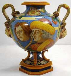 681: ANTIQUE RARE GINORI MAJOLICA DOUBLE HANDLED URN : Lot 681see Richard Ginori. Favorite