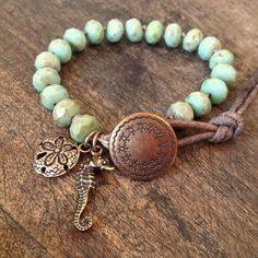 "Sea Horse & Sand Dollar Hand Knotted Bracelet, ""Surfer Girl"""