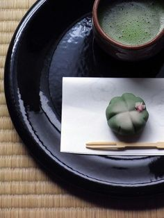 Japanese Green Tea w/ Wagashi (traditional Japanese confectionery served w/ tea, especially the types made of mochi, azuki bean paste, and fruits)