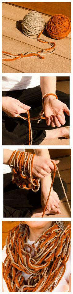 arm knitting tutorial - DIY no-needle chunky scarf