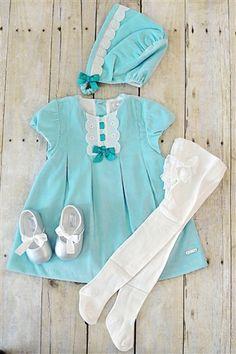 Mayoral Baby - Baby Dress & Cap Set in Aqua