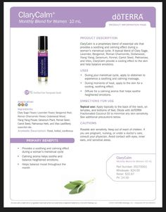 doTERRA product information for Clary Calm