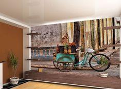 Vintage Wallpaper MURAL Room Art Cuba Fruits Cart Cobblestone Street WALL DECOR  #Unbranded