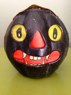 Antique Halloween German Paper Mache Black Cat Face Lantern 1920s Collectible Vintage Halloween Decor on Etsy, $159.00