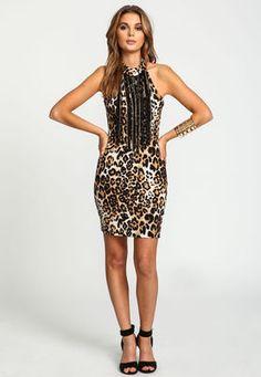 Leopard Chain Fringe High Neck Dress - LoveCulture