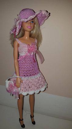 Barbie-Puppenkleidung mit Hut und Handtasche. Set von 3 Artikel - Kleid, Hut, Tasche für Barbie, exklusives Design, bunte, blass rosa, rosa. Dieses bemerkenswerte Tuch passt 12 Zoll, die Barbie mit normaler Größe und Körper beweglich und nicht beweglich Puppen. Ihre Puppe wird