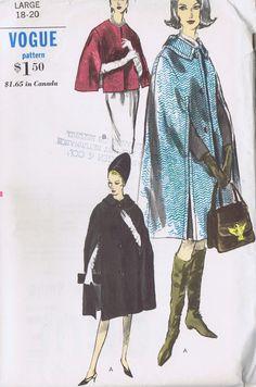 "VINTAGE CAPE TWO LENGTHS 1960s SEWING PATTERN VOGUE 6032 LARGE BUST 38-40"" UNCUT | eBay"