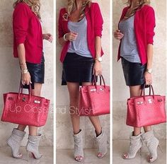 Red blazer and leather skirt, gorgeous combination!