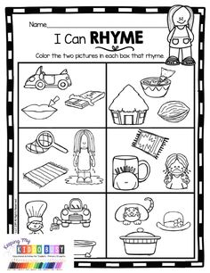 FREE RHYMING ACTIVITIES for back to school in kindergarten word families