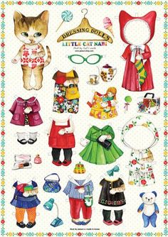 Clothes Illustration Dolls - Paper Doll Clothes Dress Adorable Little Cat Kitty Illustration Doll Lot 4 Sheet. dolls Clothes Illustration Dolls - Paper Doll Clothes Dress Adorable Little Cat Kitty Illustration Doll Lot 4 Sheet Diy Paper, Paper Art, Paper Crafts, Imagenes Betty Boop, Art Origami, Paper Dolls Printable, Paper Animals, Vintage Paper Dolls, Doll Parts