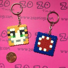 Pixel Keyrings StampyLongNose & iBallisticSquid by ZoZoTings