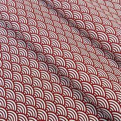 Tissu sushis 25x160cm coloris rouge et blanc ,motif seigaiha
