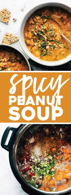Okay, YUMMMM. Spicy Peanut Soup with Sweet Potatoes + Kale! Comforting and SUPER nutritious. Naturally vegan, gluten free, refined sugar free, ALL THE GOOD THINGS. #sweetpotato #soup #vegan #healthy #sugarfree #cleaneating #realfood #instantpot #slowcooker | pinchofyum.com