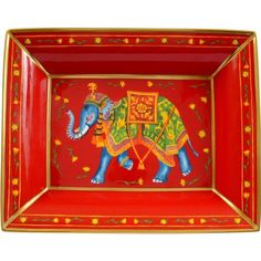 HALCYON DAYS Ceremonial elephant trinket tray (£225) ❤ liked on Polyvore featuring home, home decor, small item storage, indian home decor, handmade home decor, elephant home decor, halcyon days and bone china