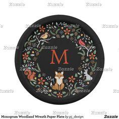 Monogram Woodland Wreath Paper Plate