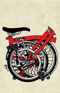 Brompton Bicycle Art Print. A Folded red Brompton just waiting to be opened and ridden.