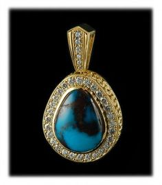 Sun Rise design Bisbee Turquoise and yellow gold pendant by Bruce Mead.  WOW that is all that can be said.  This natural American Turquoise and 20k yellow gold pendant with natural White Diamonds is fit for a queen.  A true museum piece.