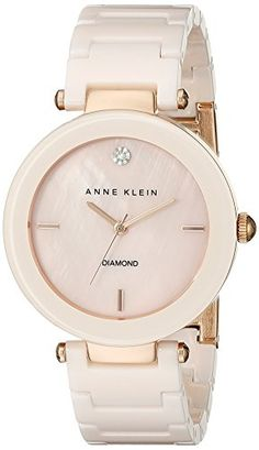 Anne Klein Women's Alice Quartz Watch with Rose Gold Dial Analogue Display and Pink Ceramic Bracelet - The Sterling Silver Com Pink Watch, Gold Watch, Stylish Watches, Watches For Men, Women's Watches, Fashion Watches, Anne Klein Watch, Jewelry Clasps, Jewellery