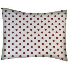 SheetWorld Twin Pillow Case - Percale Pillow Case - Burgundy Polka Dots