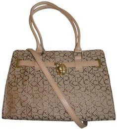 Women's Calvin Klein Purse Handbag Signature Logo Tote Khaki/Brown/Gold « Xquisite Beauty