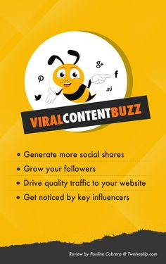 ViralContentBuzz Review - Boost Your Social Media Shares: http://www.twelveskip.com/reviews/content-marketing-tools/1366/viralcontentbuzz-review #socialmediamarketing #contentmarketing