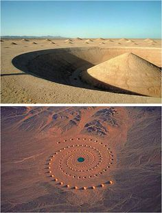 Danea Stratou's Desert Breath, Egypt..........n the eastern Sahara desert bordering the Red Sea stands Desert Breath, a stunning land-art project comprised of perfectly-formed cones and a glistening pool of water. Nestled between the hills on the Egyptian desert floor, this site-specific installation was the work of D.A.ST. Arteam, made up of Danae Stratou (installation artist), Alexandra Stratou (industrial designer and architect), and Stella Constantindies (architect).
