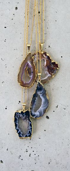 sparkling agate geode necklace